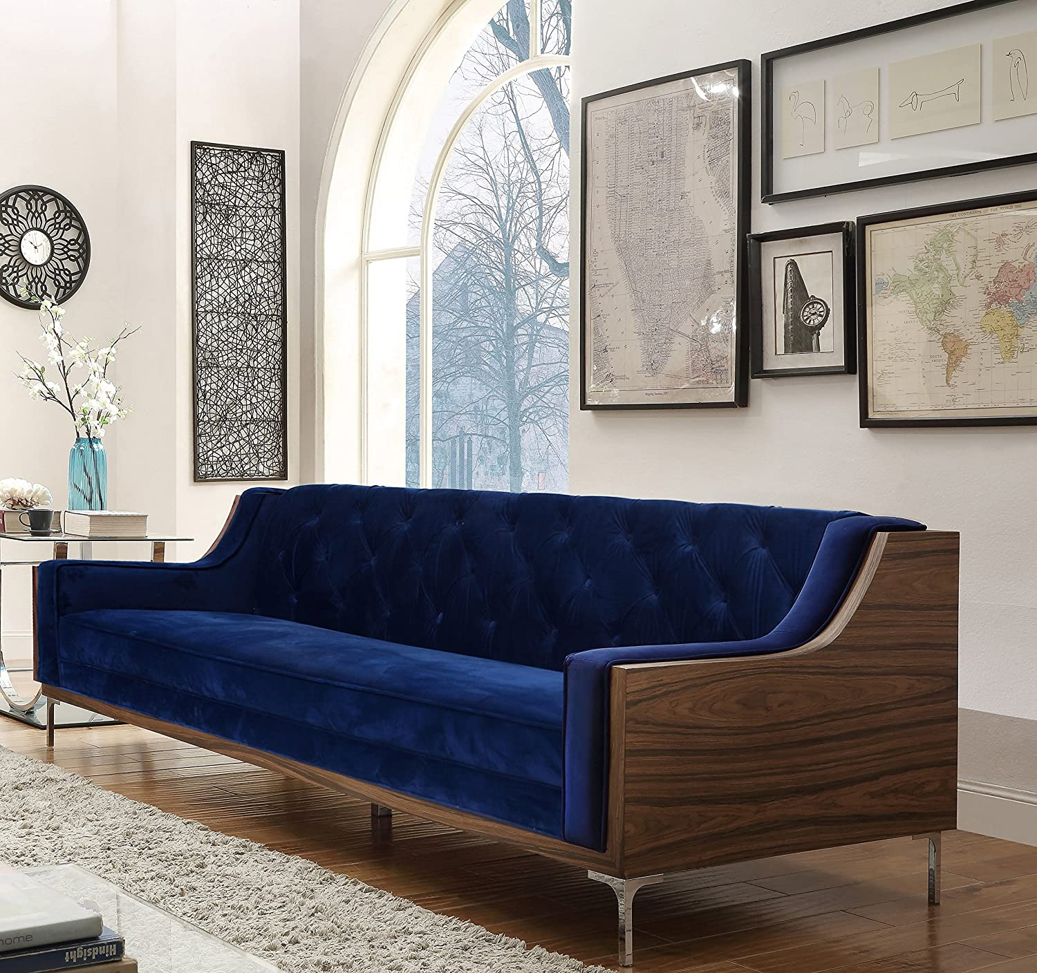 Iconic Home Clark Modern Contemporary Navy Blue Velvet Tufted Swoop Arm Sofa with Walnut Finish Silvertone Chrome Legs
