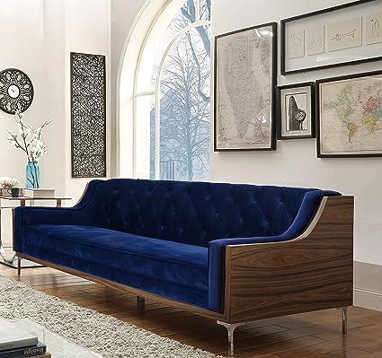 Amazon.com: Iconic Home Clark Modern Contemporary Navy Blue Velvet ...