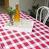 Toalha de mesa xadrez vermelha | Tecido Oxford | Fácil de Lavar e Secar | 4, 6 e 8 lugares (6 lugares (2,10m x 1,45cm))