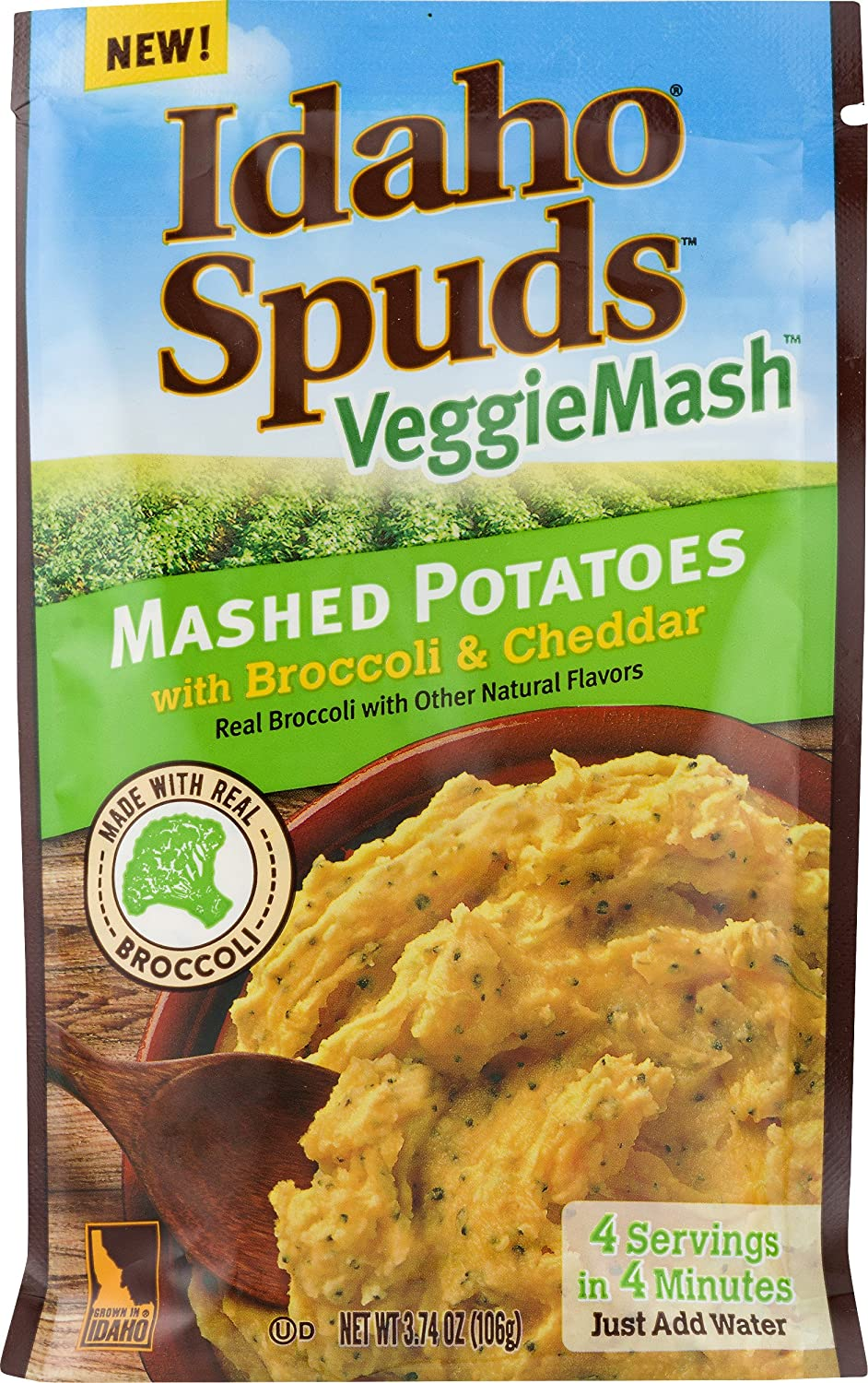 Idaho Spuds Veggie Mash, Cauliflower Butter Broccoli & Cheese Mashed Potatoes, 10 Count