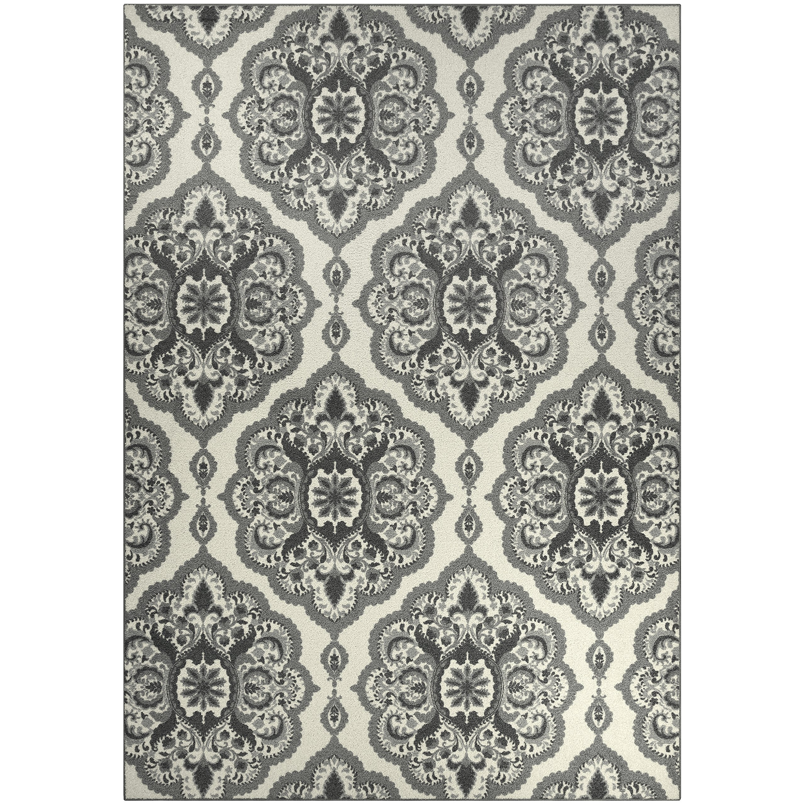 Area Rugs, Maples Rugs [Made in USA][Vivian] 7' x 10' Non Slip Padded Large Rug for Living Room, Bedroom, and Dining Room - Grey