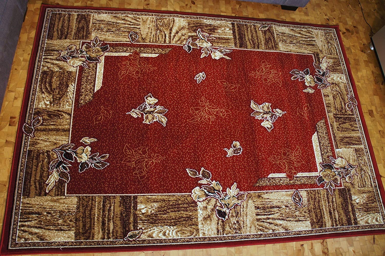 Karatcarpet Moderner Teppich Kurzflor Kollektion Gold 300/22 Rot, Braun, Seidenglanz, Muster: Bordüre. (250x350 cm)