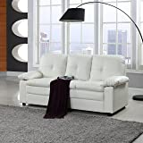 Classic Faux Leather Living Room Sofa Couch (White)
