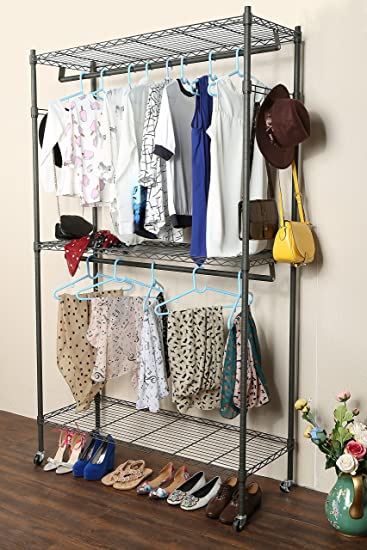 Homdox 3 Shelves Wire Shelving Clothing Rolling Rack Heavy Duty Commercial  Grade Garment Rack With Wheels