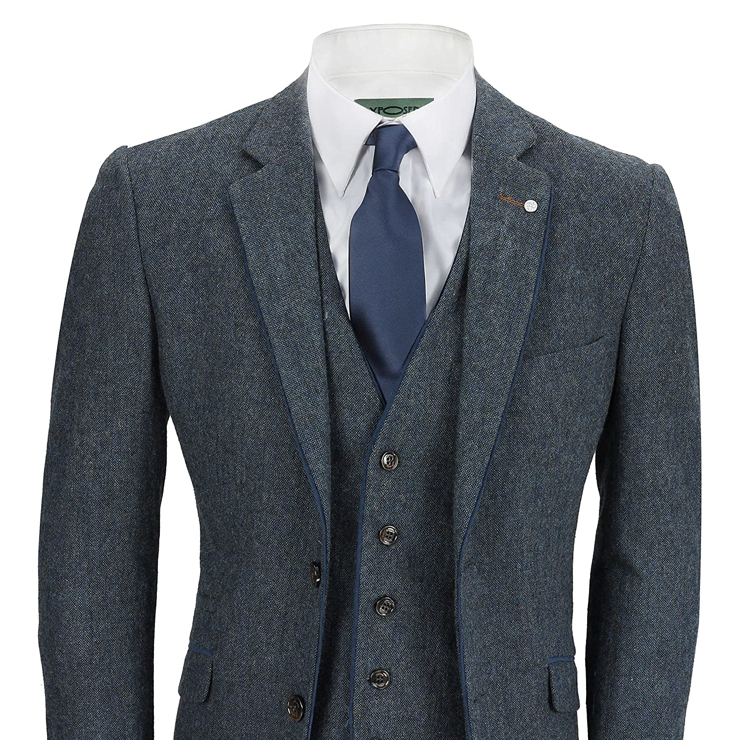 1920s Fashion for Men Cavani Mens Navy Blue 3 Piece Suit Wool Mix Vintage Herringbone Tweed Smart Formal Retro Tailored Fit $144.99 AT vintagedancer.com
