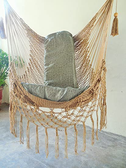 Charmant Hammock Chair With Macrame Edge Handmade Cotton Light Brown Color/ Indoor  Outdoor Chair Hammock/