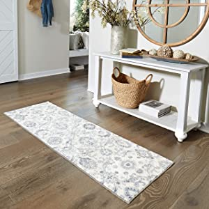 Maples Rugs Blooming Damask 2 x 6 Distressed Style Non Skid Hallway Entry Rugs Runners [Made in USA] for Kitchen and Entryway, Gray/Blue