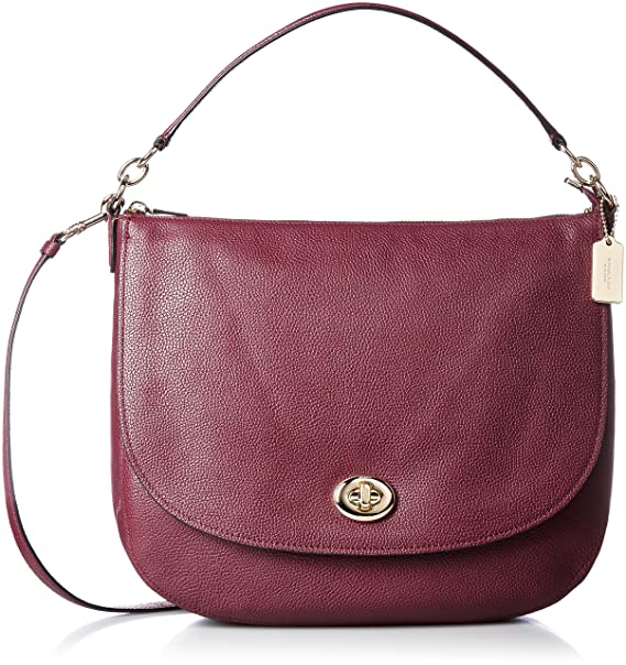 6ad2384347 Coach 36762 Turnlock Hobo In Polished Pebble Burgundy Leather Ladies ...