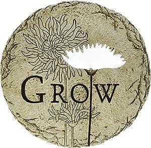 Roman Flower Cut-Out Grow Decorative Garden Patio Stone, 12-Inch