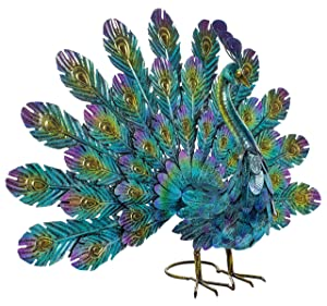 Alpine Corporation JUM232 Metal Peacock Outdoor Statue, 22 Inch Tall, Multi-Color