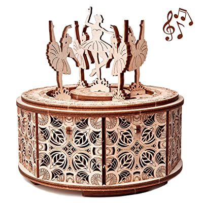 Wood Trick Dancing Ballerina Music Box Kit Swan Lake, DIY Wooden Musical Box Ballerina - 3D Wooden Puzzle, Assembly Toy, Brain Teaser for Adults and Kids: Toys & Games