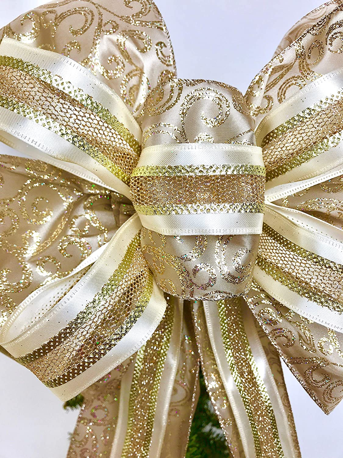 Wreath Bow, Gold Taupe Shimmer Wreath Bows, Tree Topper, Large Gift Bow, Wreath Bows, Holiday Bow, Home Decor, Christmas Bows, Swag Bow,- Handmade Bow