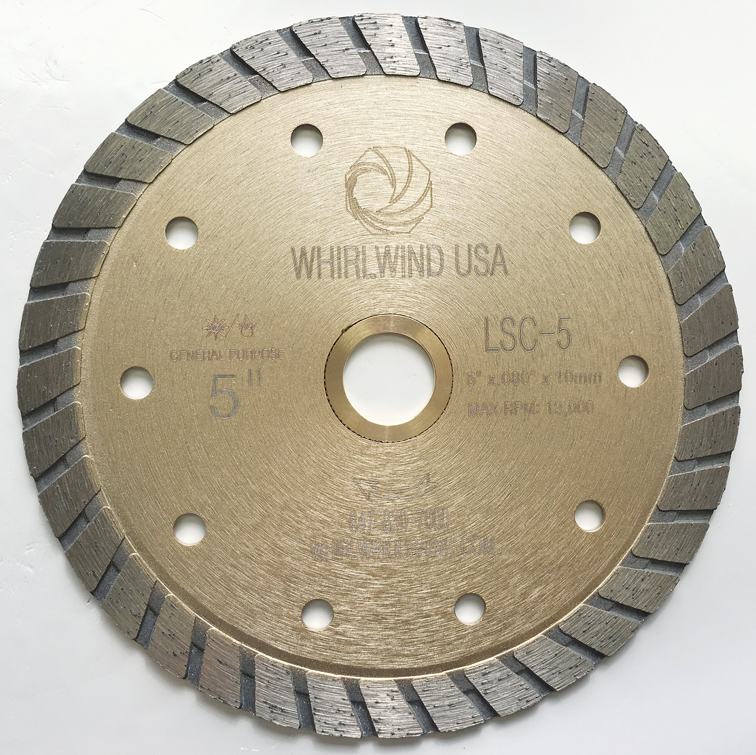 Whirlwind USA LSC 5-inch Dry or Wet Cutting General Purpose Continuous Turbo Power Saw Diamond Blades for Concrete Masonry Brick Stone (Factory Direct Sale) (5'')