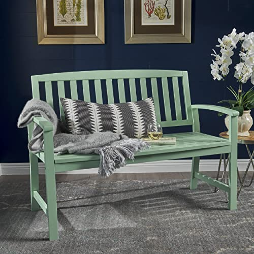 Millie Farmhouse Cottage Light Mint Finished Acacia Wood Bench
