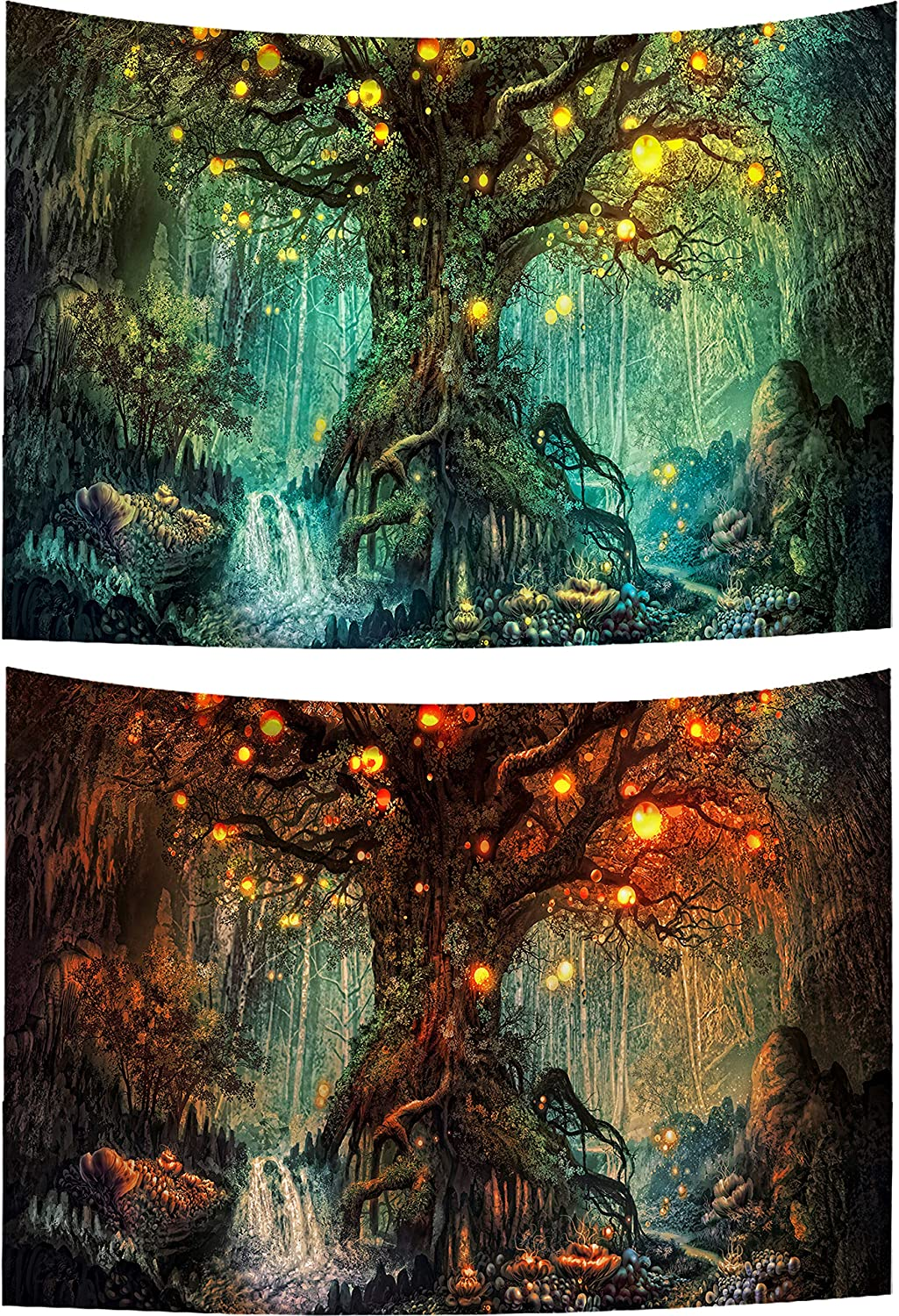 HaiMay 2 Pack Forest Tapestry, Nature Tree Popular Elves Tapestry Fantasy Tree Tapestry, Wall Hanging Tapestry for Room Decoration (51.2 x 59.1 Inches)