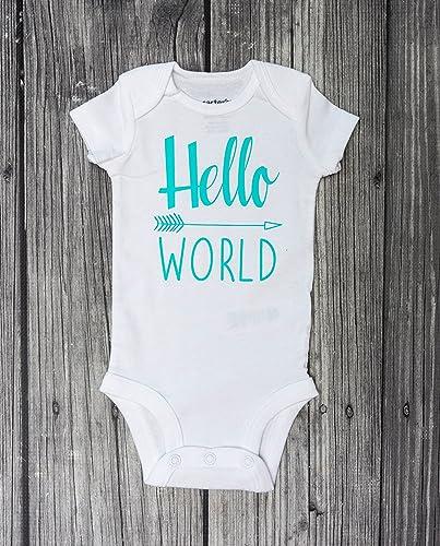 66d7b59d7 Amazon.com: Hello World Bodysuit - Baby Bodysuit - Newborn Bodysuit - Coming  Home Outfit -baby girl bodysuit - baby boy bodysuit: Handmade