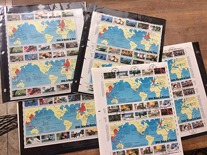 Amazon com: 5 sets of WWII stamp maps memorabilia, 1941-1945