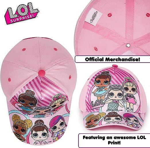 Cappellino con Visiera per Bambini in Rosa Azzurro O Glitter Surprise L.O.L Prodotto Ufficiale Accessori Bambole LOL Confetti Pop Berretto da Baseball Bambina