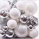 """Victor's Workshop 50Pcs Christmas Baubles Ornaments, 1.6-3""""/4-8cm Frozen Winter Silver White Shatterproof Christmas Tree Ball Decorations Themed with Matching Stocking"""