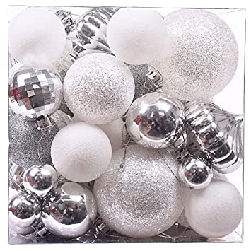 Frozen Christmas Decorations.Victor S Workshop 50pcs Christmas Baubles Ornaments 1 6 3 4 8cm Frozen Winter Silver White Shatterproof Christmas Tree Ball Decorations Themed With