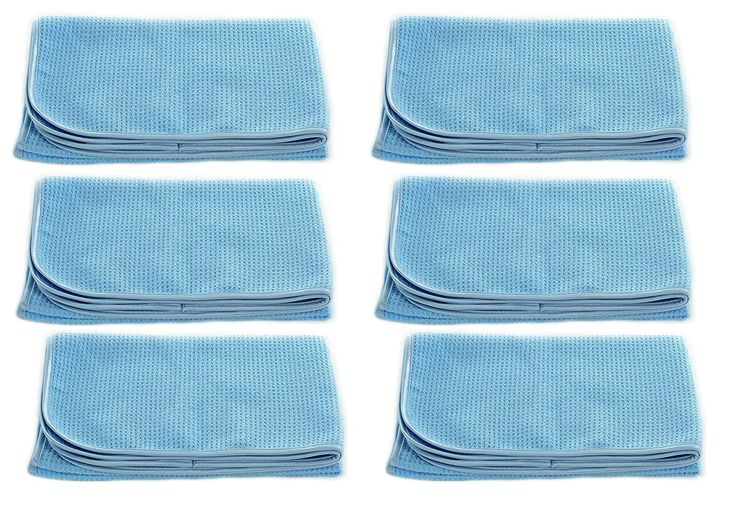 "Real Clean Professional Grade Premium Ultra-Microfiber Extra Thirsty Big Blue Automotive Drying Towel 25""x 36"" Chemical and Water Safe Material (6 Pack)"