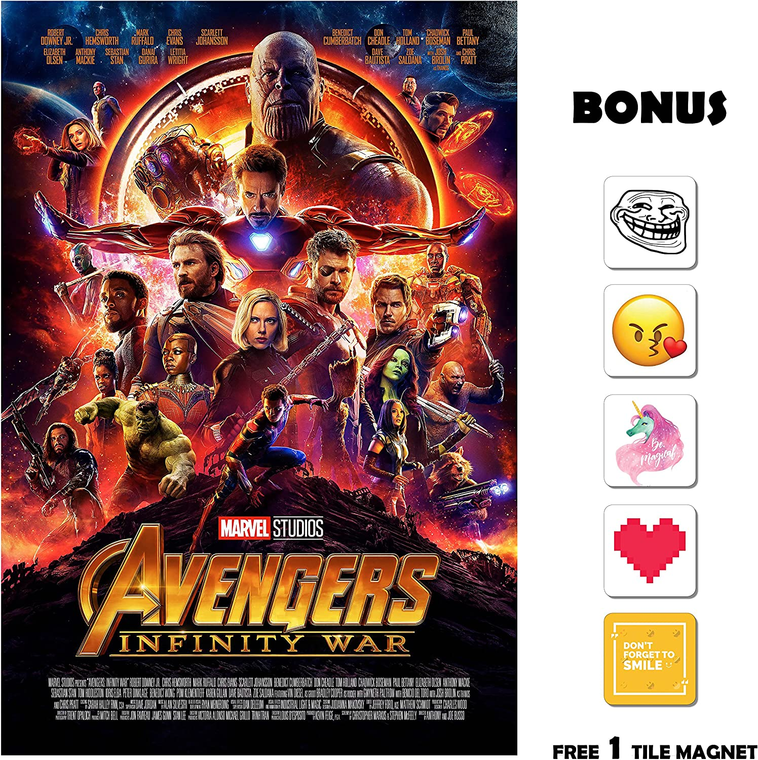 Amazon Com Movie Poster Avengers Infinity War 2018 Main 13 In X 19 Borderless Free 1 Tile Magnet Posters Prints