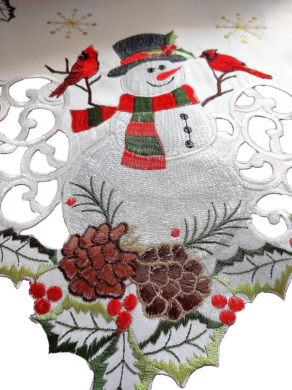 Amazon.com: Jamie\'s Arts Snowman & Cardinals Christmas Embroidered ...