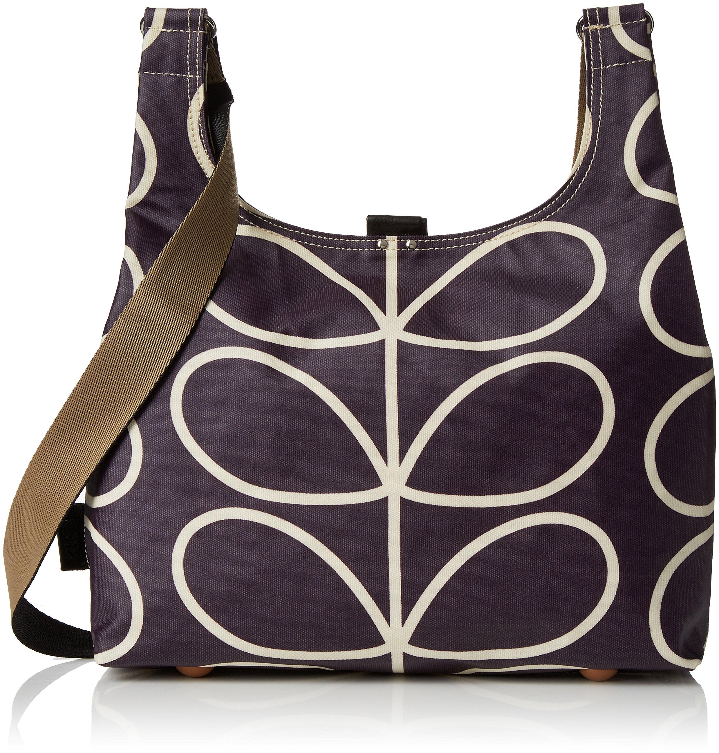 Orla Kiely Matt Laminated Linear Stem Print Midi Sling Bag, Orchid