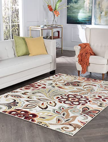 Dilek Transitional Floral Ivory Rectangle Area Rug, 5 x 7