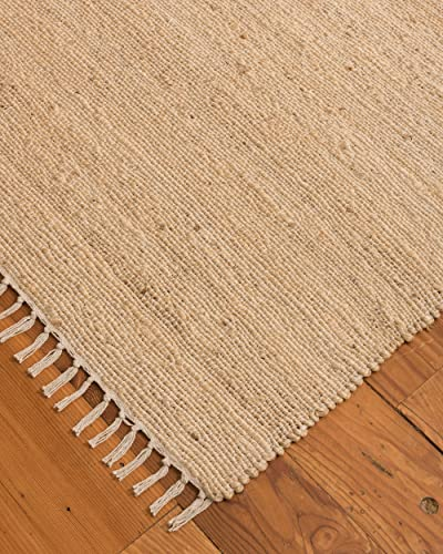 Natural Area Rugs 100 Natural Fiber Handmade Venice Jute Rectangular Rug 6' x 9' Bleach