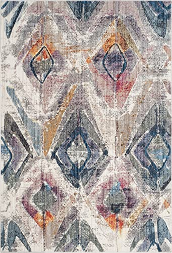 Safavieh Bristol Collection BTL356P Lavender and Light Grey Contemporary Distressed Area Rug 8' x 10'