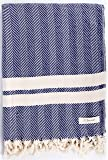 Bersuse 100% Cotton - Herringbone Extra Large (XL) Throw Blanket Turkish Towel - Sofa Bed or Couch Cover - 63 x 94 Inches, Dark Blue (Herringbone_BLAN_DB)