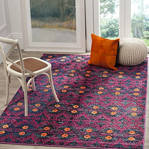 Safavieh Monaco Collection MNC213D Modern Bohemian Colorful Pink and Multi Distressed Area Rug 3 x 5