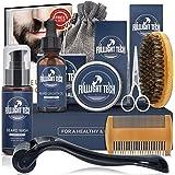 Beard Growth Kit,Beard Grooming Kit,Beard Kit W/Beard Roller,Beard Growth Oil,Beard Wash, Beard Balm,Comb,Brush,Shaving Sciss