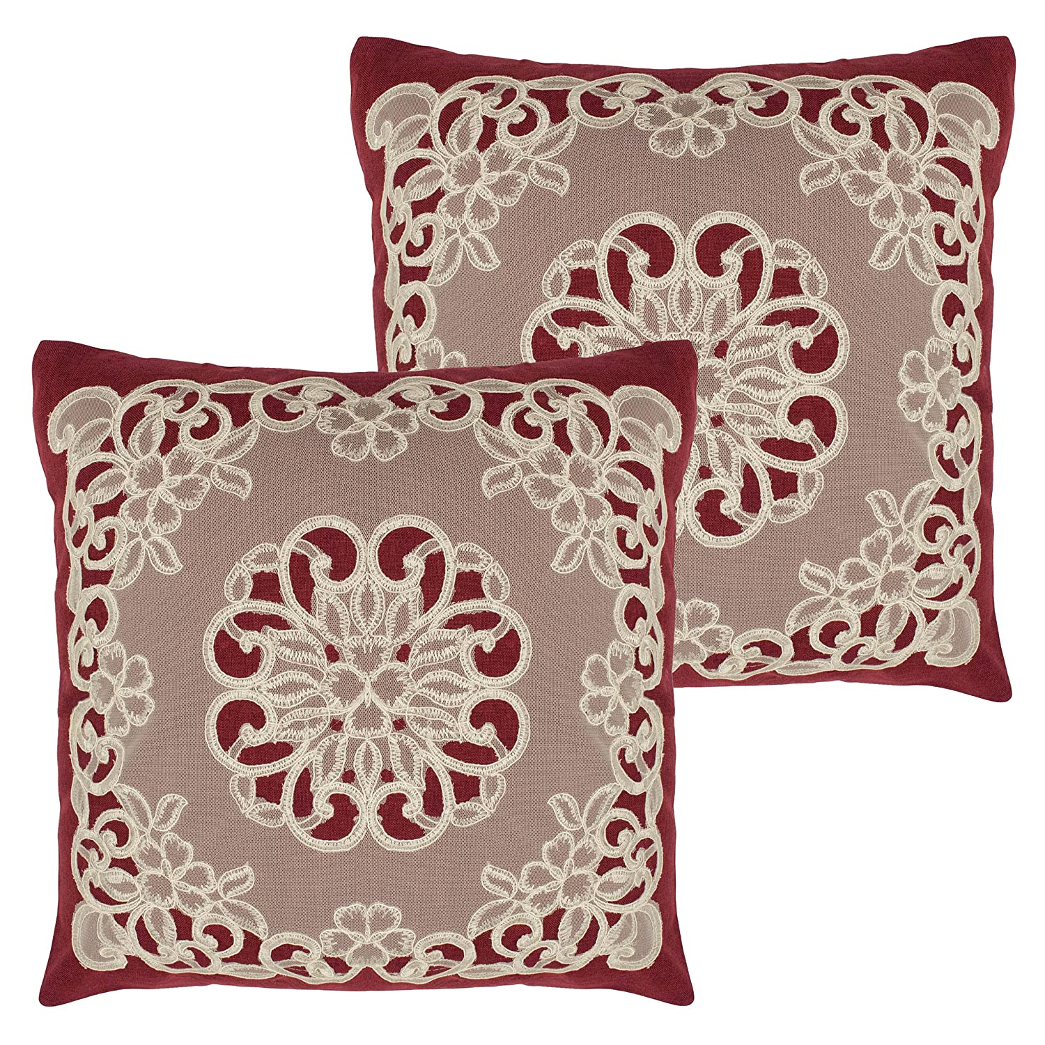 Amazoncom Creative Home Ideas Emily 18 X 18 In Set Of 2 Lace
