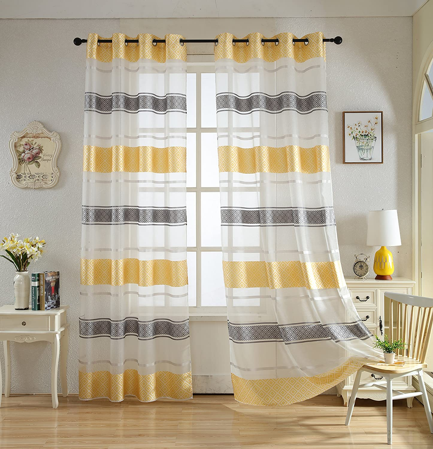 Merrylife Decorative Stylish Sheer Curtains with Grommets Yellow