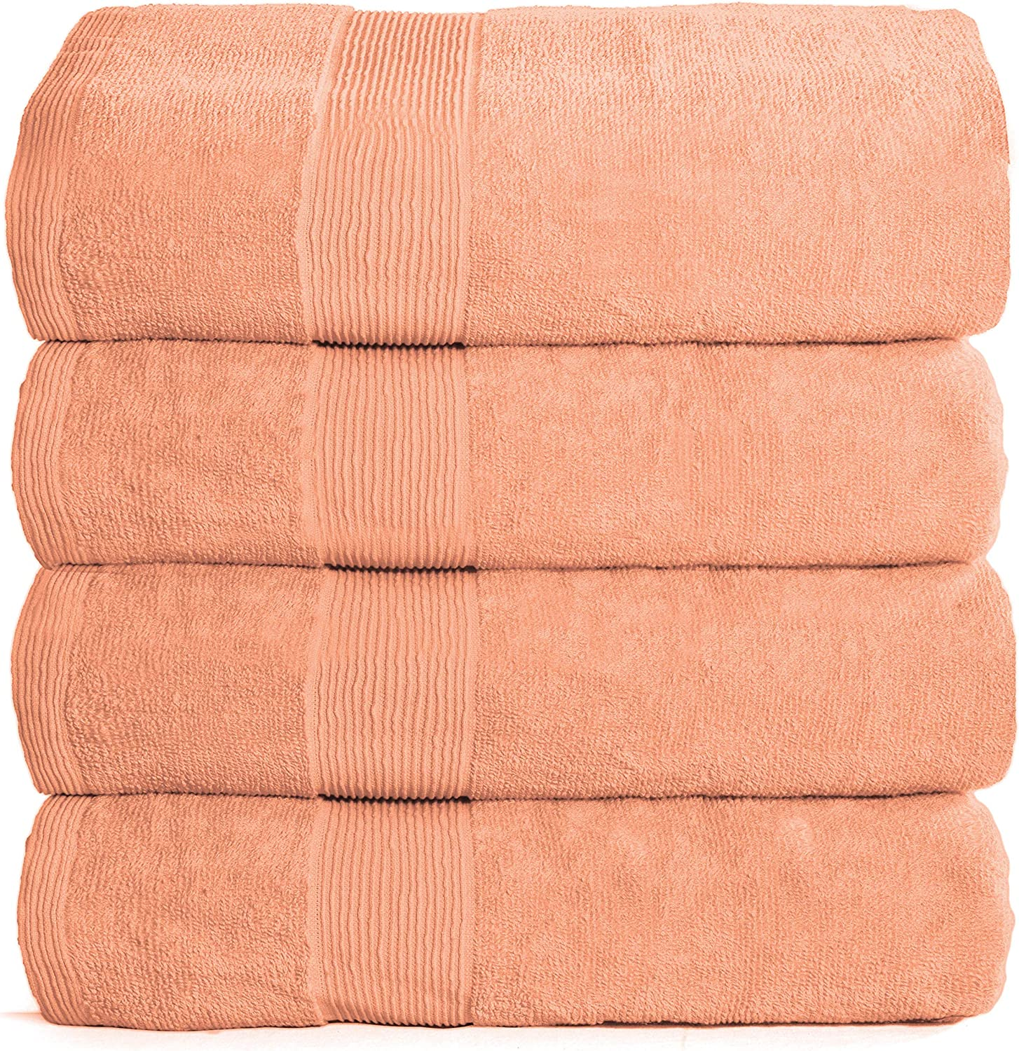 Elvana Home 4 Pack Bath Towel Set 27x54, 100% Ring Spun Cotton, Ultra Soft Highly Absorbent Machine Washable Hotel Spa Quality Bath Towels for Bathroom, 4 Bath Towels Peach: Kitchen & Dining