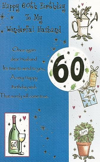 Happy 60th Birthday To My Wonderful Husband Card
