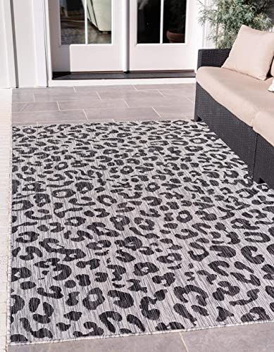 Unique Loom Outdoor Safari Collection Leopard Animal Print Transitional Indoor and Outdoor Flatweave Light Gray Area Rug 9 0 x 12 0