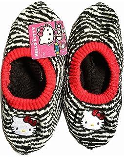 6ac760596 SANRIO Hello Kitty Zebra Stripes Girls Slipper Socks, Non-Skid Soles (Girls  Size