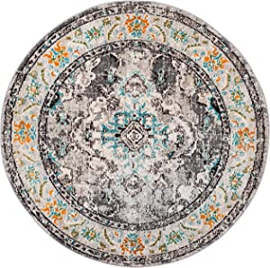 Safavieh Monaco Collection MNC243G Bohemian Chic Medallion Distressed Area Rug, 3' Round, Grey/Light Blue