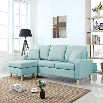 online store 47ce8 f34b7 DIVANO ROMA FURNITURE Mid Century Modern Linen Fabric Small Space Sectional  Sofa with Reversible Chaise (Light Blue)