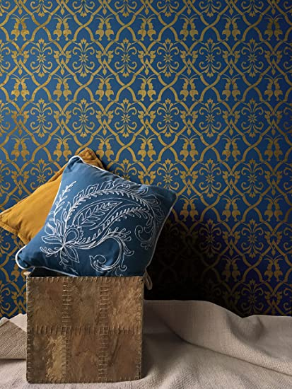 Amazon Com Aladdin Damask Wall Stencil Moroccan Stencils Wall
