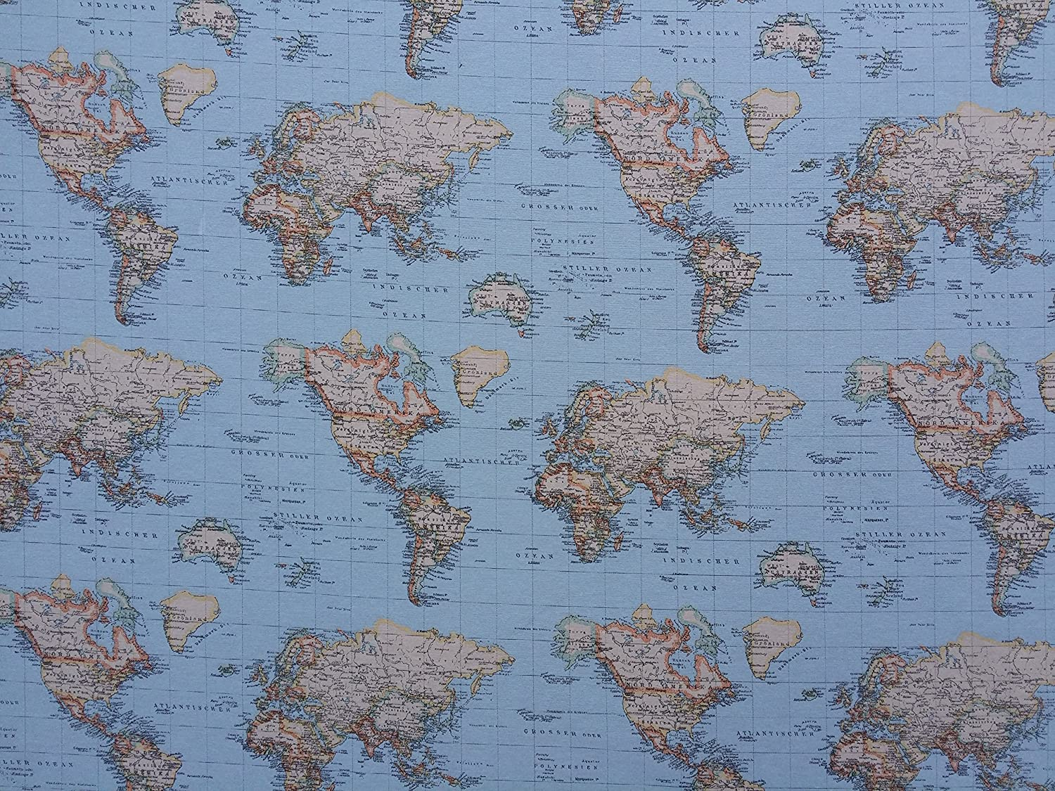 World map print 100 cotton designer curtains bedding cushion world map print 100 cotton designer curtains bedding cushion covers upholstery roman blinds fabric prestige fashion uk ltd amazon kitchen gumiabroncs Gallery