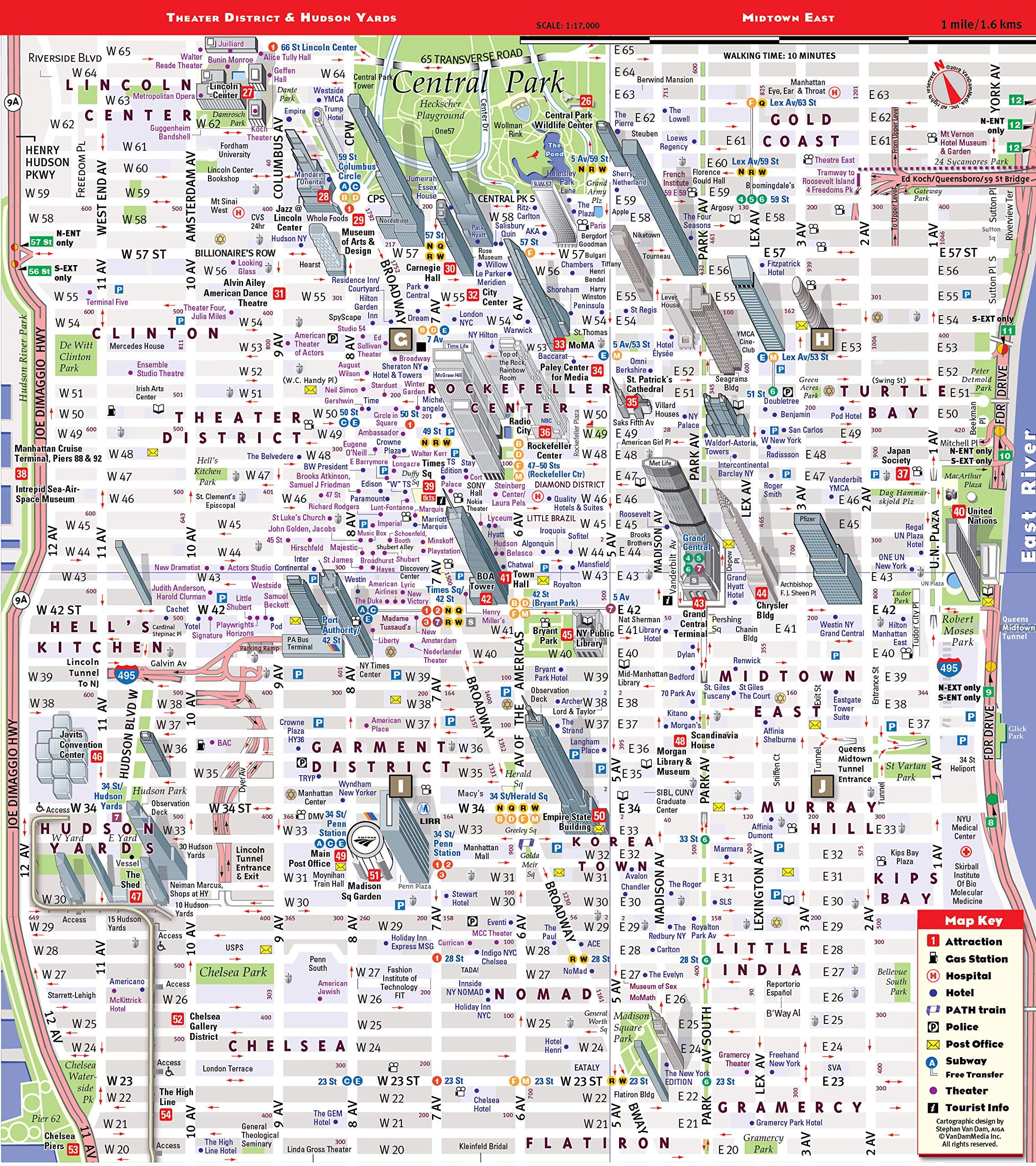 New York Subway Map Hide Head.Streetsmart Nyc Map Midtown Edition By Vandam Laminated Pocket City