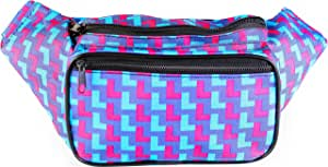 SoJourner Bags Men's Fanny Pack One Size Geo L (Blue and Red)