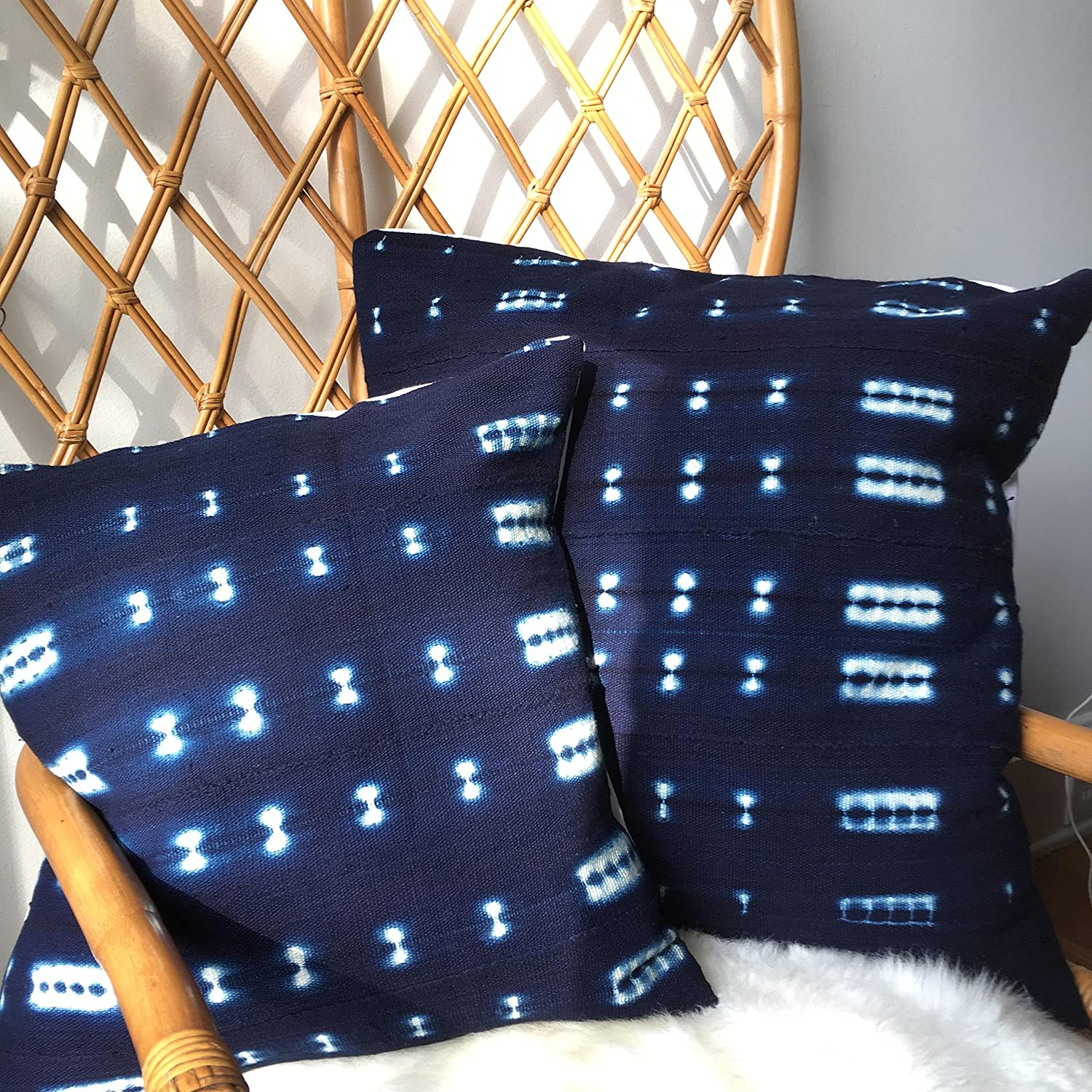 Shibori Indigo Blue or Black & White Vintage African Mudcloth Pillow Covers - 16 x16, 18 x18, 20 x 20, 25 x 25 - Message for custom Sizes - Cover, Africa