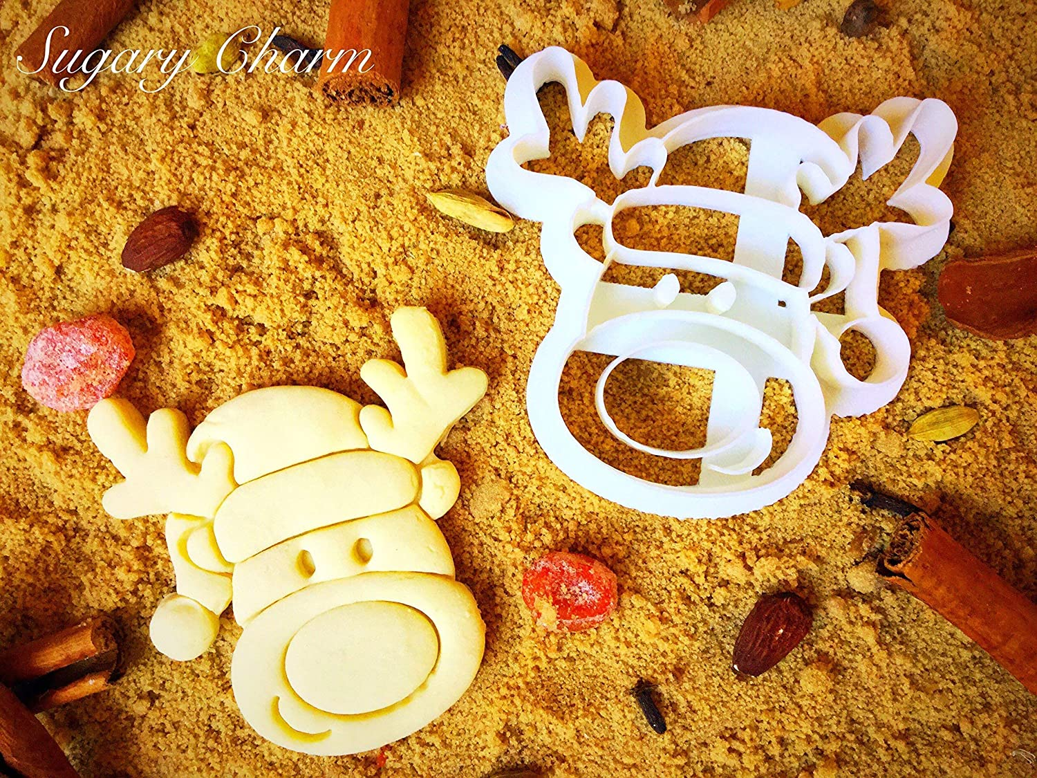 Reindeer Cookie Cutter - Unique Shaped Christmas Mini Present Cookies - 3D Detailed Xmas Shapes - Tiny Leaping Reindeer Face Cutters - Small Eco Friendly Plastic Mold by Sugary Charm