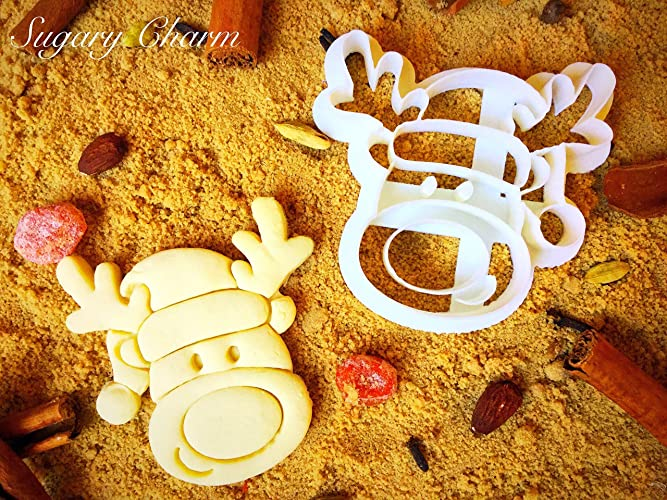 Reindeer Cookie Cutter Unique Shaped Christmas Mini Present Cookies 3d Detailed Xmas Shapes Tiny Leaping Reindeer Face Cutters Small Eco