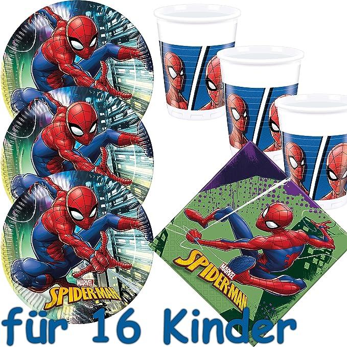 53 piezas Party * Spider-Man 2018 * con 16 platos + 16 vasos ...